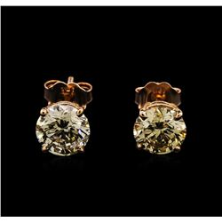 2.61ctw Diamond Stud Earrings - 14KT Rose Gold
