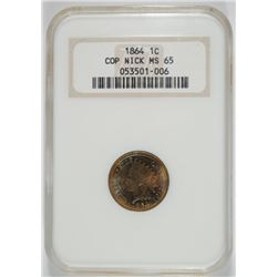 1864 COPPER NICKEL INDIAN CENT NGC MS-65 OLD HOLDER GREAT COLOR