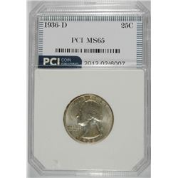 1936-D WASHINGTON QUARTER, PCI GEM