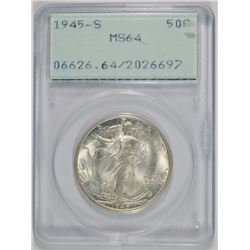 1945-S WALKING LIBERTY HALF PCGS MS-64 OLD RATTLER HOLDER