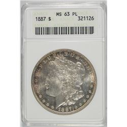 1887 MORGAN DOLLAR ANACS MS63 PL