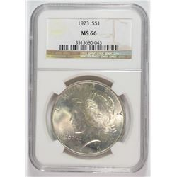 1923 PEACE SILVER DOLLAR, NGC MS-66 TOUGH IN THIS GRADE