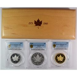 1989 CANADIAN 10th ANNIV.  MAPLE LEAF PROOF SET: 1 oz  PLATINUM, GOLD & SILVER