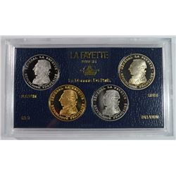 RARE! 1987 FRENCH PARIS 4-COIN LAFAYETTE PROOF SET#2972 LOW MINTAGE: