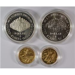 1987 CONSTITUTION 4-COIN GOLD & SILVER SET: