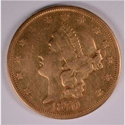 1870-S $20.00 GOLD LIBERTY, XF/AU