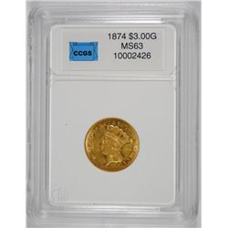1874 $3.00 GOLD, CCGS GRADED CHOICE BU