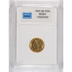 1905 $2.50 GOLD LIBERTY CCGS GEM BU