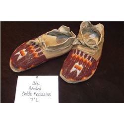 "Ute Beaded Childs Moccasins. 7"" L"