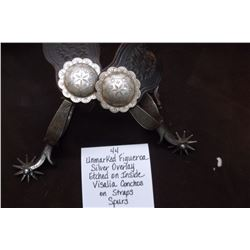 Unmarked Figueroa Silver Overlay Etched on Inside Visalia Conchos on Straps Spurs