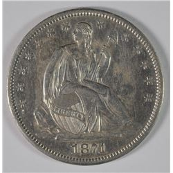 1871-S SEATED HALF DOLLAR, AU/UNC  SCARCE!