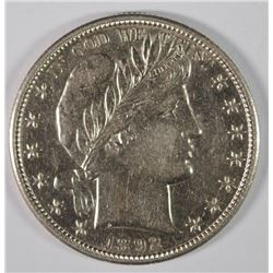 1892-S BARBER HALF DOLLAR, AU/UNC  KEY DATE! IMPOSSIBLE TO FIND IN THIS GRADE