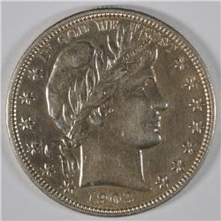 1903-O BARBER HALF DOLLAR, AU/UNC  VERY NICE, SEMI-KEY DATE