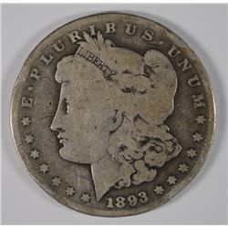 1893-CC MORGAN SILVER DOLLAR, GOOD  RIM BUMPS, KEY DATE!