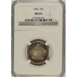 1890 SEATED QUARTER, NGC MS-65 AMAZING RAINBOW COLORS OBVERSE AND REVERSE