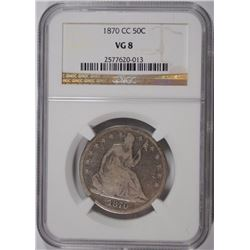 1870-CC SEATED HALF DOLLAR, NGC VG-8  RARE!!