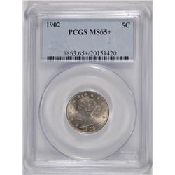 1902 LIBERTY NICKEL, PCGS MS-65+ NICE!