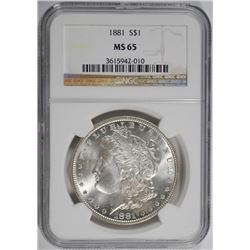 1881 MORGAN SILVER DOLLAR NGC MS65