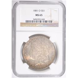 1881-O MORGAN SILVER DOLLAR, NGC MS-65  SUPERB, COLOR