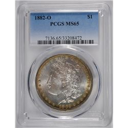 1882-O MORGAN SILVER DOLLAR, PCGS MS-65