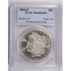 1884-O MORGAN DOLLAR PCGS MS64 DMPL WHITE