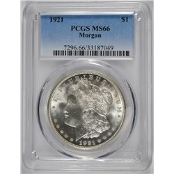 1921 MORGAN DOLLAR PCGS MS66 BLAST WHITE