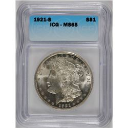 1921-S MORGAN SILVER DOLLAR, PCGS MS-65 BLAST WHITE  TOUGH!