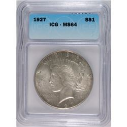 1927 PEACE SILVER DOLLAR, ICG MS-64