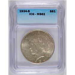 1934-S PEACE DOLLAR ICG MS-62