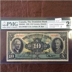 The Dominion Bank; 10 dollars note 1938; PMG VF-25, CH# 220-28-04, serial 297697, Carlisle Rae.