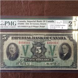 Imperial Bank of Canada; 5 dollars note 1933; PMG VF-25, CH# 375-20-02, serial E059314, Phipps Rolph