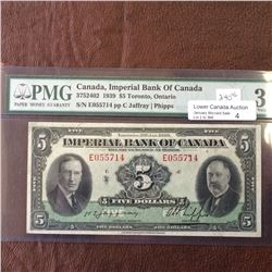 Imperial Bank of Canada; 5 dollars note 1939; PMG VF-30, CH# 375-24-02, serial E055714, Jaffray Phip