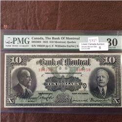 The Bank of Montreal; 10 dollars note 1923; PMG VF-30, CH# 505-56-04, Williams-Taylor Meredith.