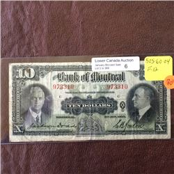 The Bank of Montreal; 10 dollars note 1935; F-12, CH# 505-60-04, Dodds Gordon.