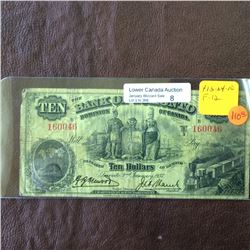 The Bank of Toronto; 10 dollars note 1937; F-12, CH# 715-24-10, serial 160046, Henwood Left.