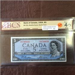 Bank of Canada; 5 dollars note Devil's Face 1954, BCS EF-45, CH# BC-31b, serial F/C6746656, Beattie