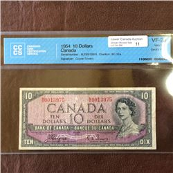 Bank of Canada; 10 dollars note Devil's Face 1954, CCCS VF-20, CH# BC-32a, serial B/D0013975, Coyne
