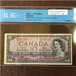 Bank of Canada; 10 dollars note Devil's Face 1954, CCCS VF-20, CH# BC-32a, serial C/D1547316, Coyne