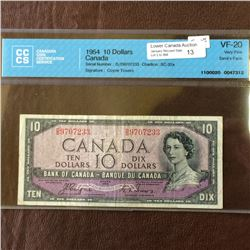 Bank of Canada; 10 dollars note Devil's Face 1954, CCCS VF-20, CH# BC-32a, serial D/D9707233, Coyne