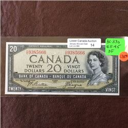 Bank of Canada; 20 dollars note Devil's Face 1954, EF-45, CH# BC-33b, serial C/E9385666, Beattie Coy