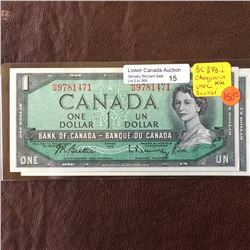 Bank of Canada; 1 dollar changeover note 1954, UNC-60, CH# BC37b-i, serial H/M9781471-472-473, Beatt