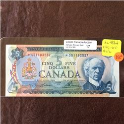 Bank of Canada; 5 dollars replacement note 1972, UNC-60, CH# BC-48bA, serial *SB1183557, Lawson Boue