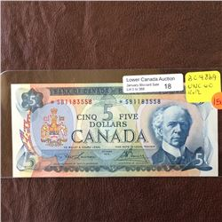 Bank of Canada; 5 dollars replacement note 1972, UNC-60, CH# BC-48bA, serial *SB1183558, Lawson Boue