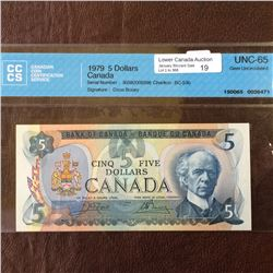 Bank of Canada; 5 dollars note 1979; CCCS UNC-65,CH# BC-53b,serial 30582005598, Crow Bouey.