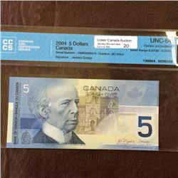 Bank of Canada; 5 dollars insert note 2004; CCCS UNC-64, CH# BC-62bA, serial HNR9099679, Jenkins Dod