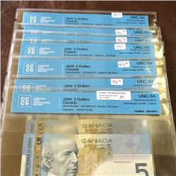 Bank of Canada; 5 dollars insert note 2006; CCCS UNC-64, CH# BC-67aA, serial APF2852740 to APF285274