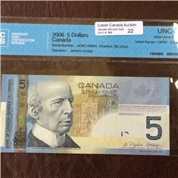 Bank of Canada; 5 dollars insert note 2006; CCCS UNC-65, CH# BC-67aA, serial AOK2156964, Jenkins Dod