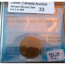 Cent 1965; CCCS EF-40 Small Beads, Blunt 5, Off Centre.