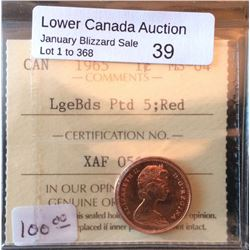 Cent 1965; ICCS MS-64 LargeBeads, Pointed 5, Red.