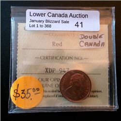 Cent 1967; ICCS MS-65 Red. Not noted Double CANADA.